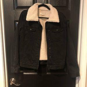 pacsun black denim faux shearling jacket